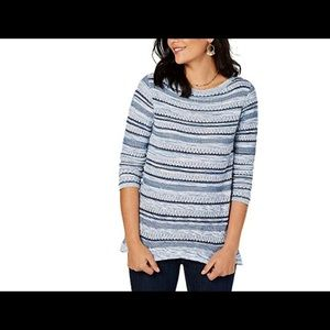 Style & Co Striped Sweater Pointelle Blue Crew S
